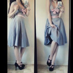 Pinup Girl Grey/Pink Bow dress